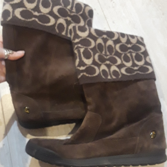 Adorable Coach Tatum leather and wool boots